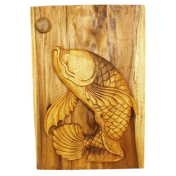 Leaping Pla Fish 20 x 30 Handmade Golden Oak Wall Panel (Thailand)