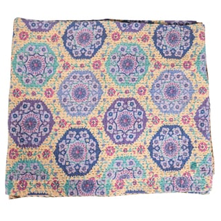 Vintage Kantha Indian Handmade Lavender Floral Throw Bedspread (India)