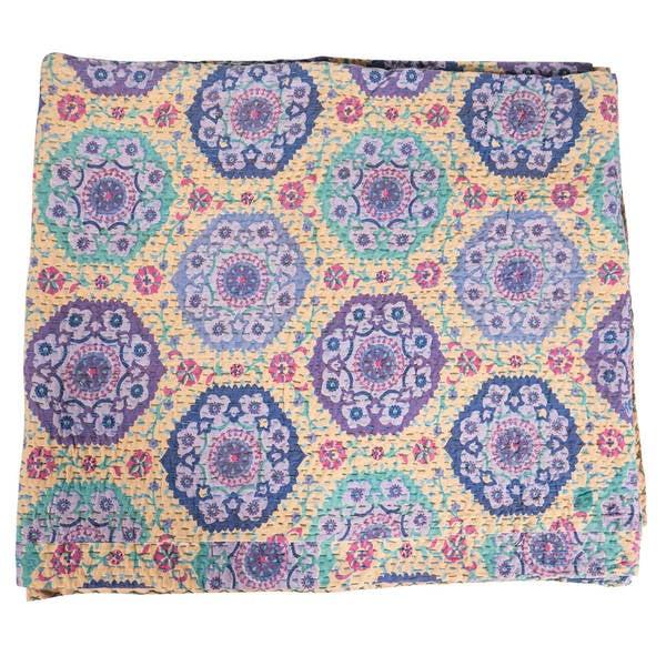 Vintage Kantha Indian Handmade Lavender Floral Throw Bedspread (India)