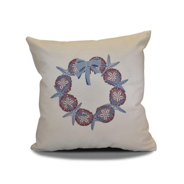 16 x 16-inch, SS Wreath, Holiday Geometric Print Pillow
