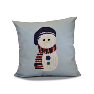 16 x 16-inch, Sock Snowman, Geometric Holiday Print Outdoor Pillow