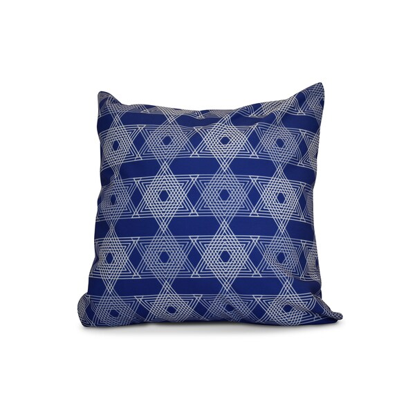 16 x 16-inch, Star Light, Geometric Holiday Print Outdoor Pillow