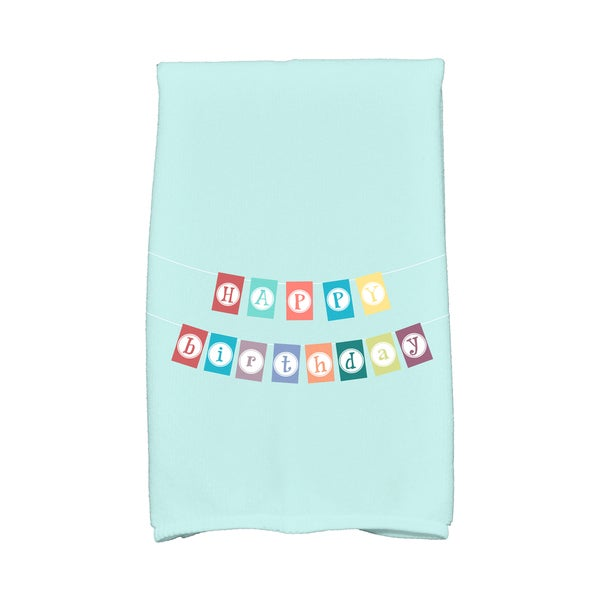 16 x 25-inch, Happy Birthday, Holiday Word Print Kitchen Towel