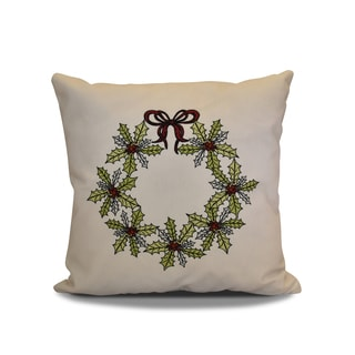 16 x 16-inch, Traditional Holly Wreath, Floral Holiday Print Pillow