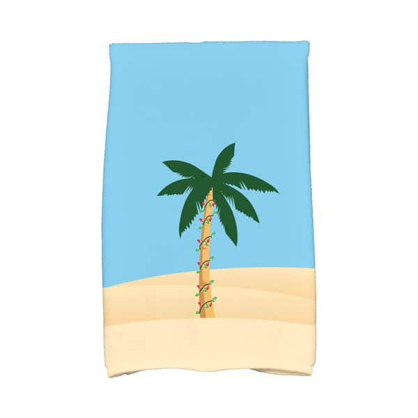 16 x 25-inch, Palm Tree with Christmas Lights, Holiday Geometric Print  Kitchen Towel