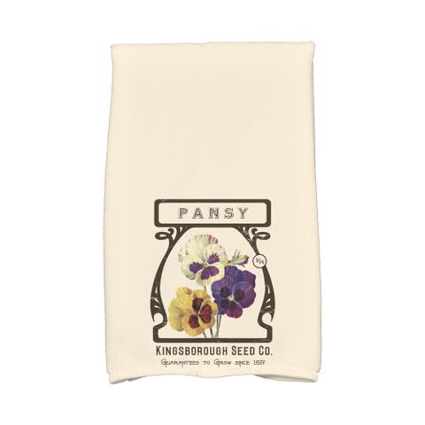 16 x 25-inch, Pansy, Floral Print Kitchen Towel