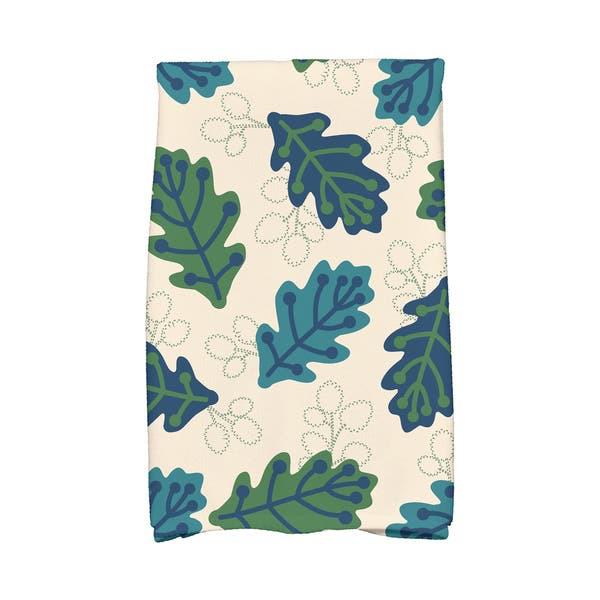 16 x 25-inch, Retro Leaves, Floral Print Kitchen Towel