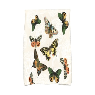 16 x 25-inch, Antique Butterflies and Flowers, Animal Print Kitchen Towel