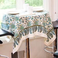 Handmade Turqoise Flora Tablecloth (India)