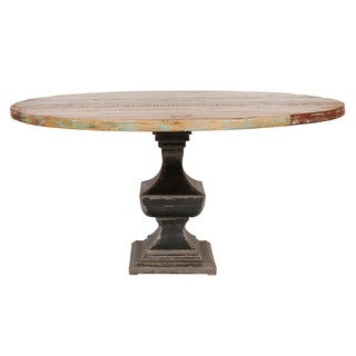 Brooklyn Reclaimed Round Dining Table 60-Inch with Steel Base (India)