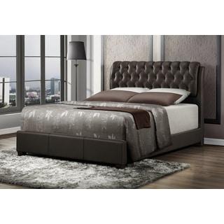 LYKE Home Nobel Brown Bicast Leather Platform Bed