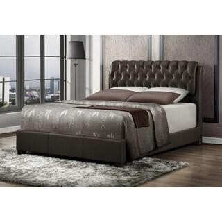 LYKE Home Nobel Brown Bicast Leather Bed