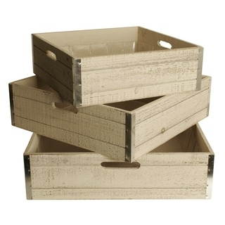 Wald Imports Large Whitewash Wood Storage Crates (Set of 3)
