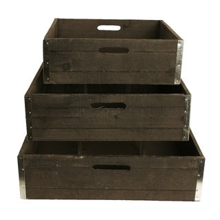 Large Wooden Grey Wash Crates (Set of 3)