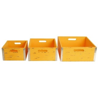 Different Sized Yellow Wooden Crates (Set of 3)