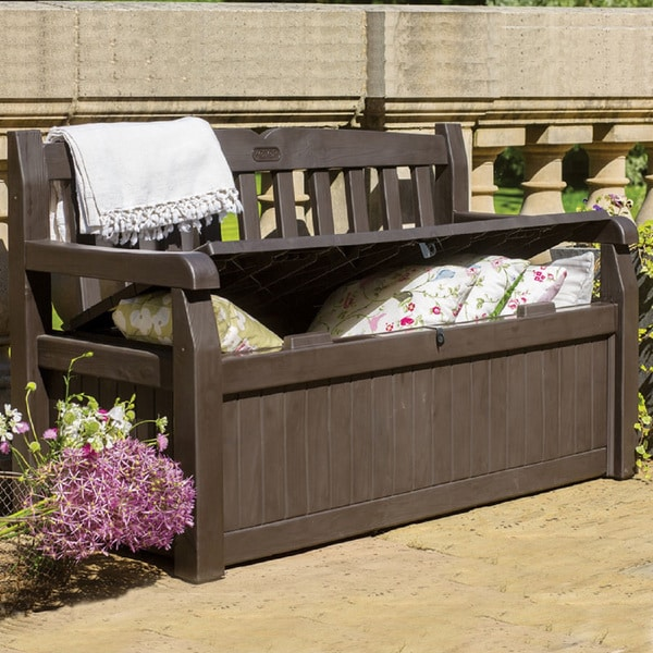 Keter Eden All Weather 70 Gallon Brown Resin Storage Bench Deck Box Free Shipping Today 19147912