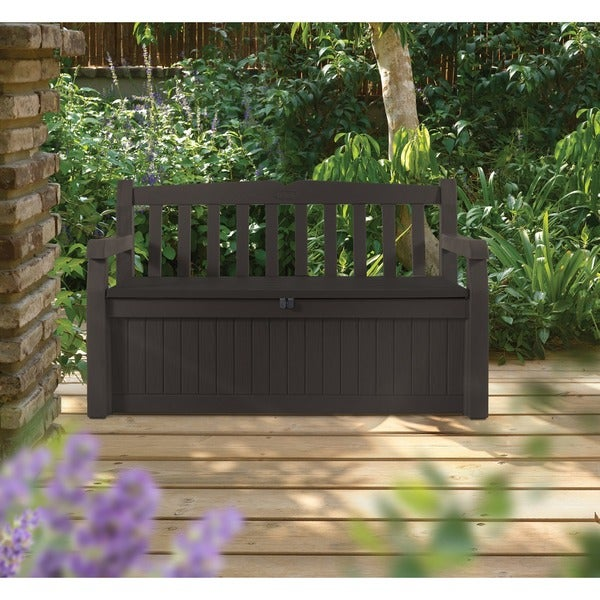 Keter Eden All Weather 70 Gallon Brown Resin Storage Bench Deck Box   Free  Shipping Today   Overstock.com   19147912