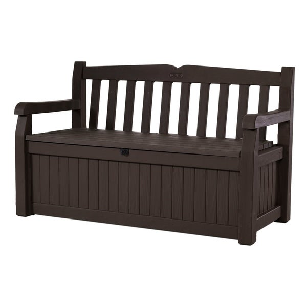 Keter Eden All Weather 70 Gallon Brown Resin Storage Bench Deck Box