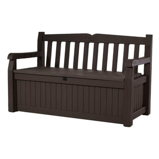 Keter Eden 70 gal. Brown All-weather Patio Storage Garden Bench Deck Box