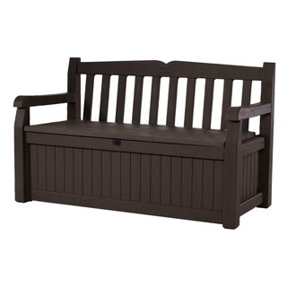 Keter Eden All-Weather 70-Gallon Brown Resin Storage Bench Deck Box