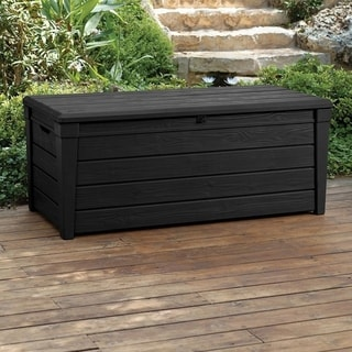 Keter Brightwood Plastic 120 Gal. Anthracite Deck Storage Container