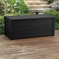 Keter Brightwood Plastic 120 Gallon Deck Box Storage Container