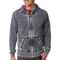 Vintage Zen Men's Dark Smoke Fleece Full-zip Hoodie