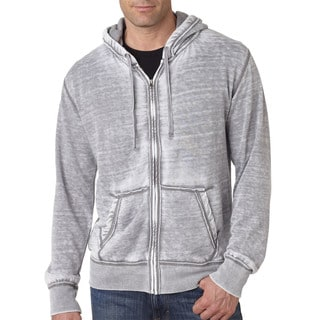 Vintage Zen Men's Grey Cotton Fleece Full-Zip Hoodie
