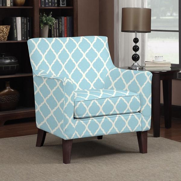 Handy Living Waldron Turquoise Blue Trellis Arm Chair