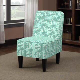 Handy Living Wylie Emerald Green Greek Key Armless Chair