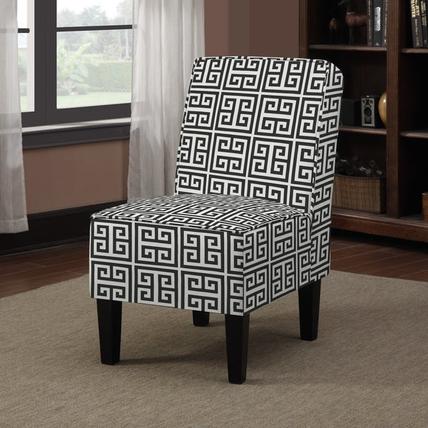 Black And White Greek Key Accent Chair: Shop Handy Living Wylie Black Greek Key Armless Chair