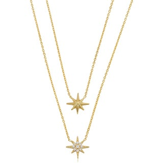 Fremada Italian 14k Yellow Gold with Cubic Zirconia North Star Layered Necklace (18 inch)
