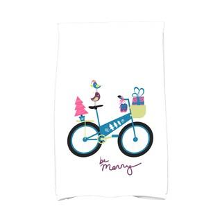 16 x 25-inch, Merry Bird Bike, Holiday Geometric Print Kitchen Towel