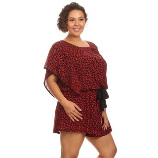 Hadari Women Plus Size Short Sleeve Round Neck Romper