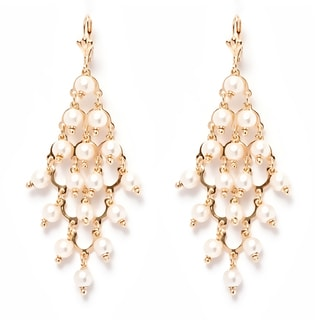Goldplated and Natural Shell Pearls Chandelier Earrings