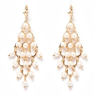 18k Goldplated and Natural Shell Pearls Chandelier Earrings