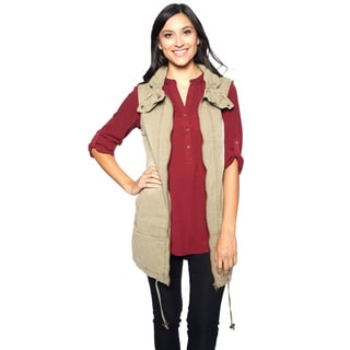 Women's Canvas Ruched Collar Long Vest With Drawstring Hem