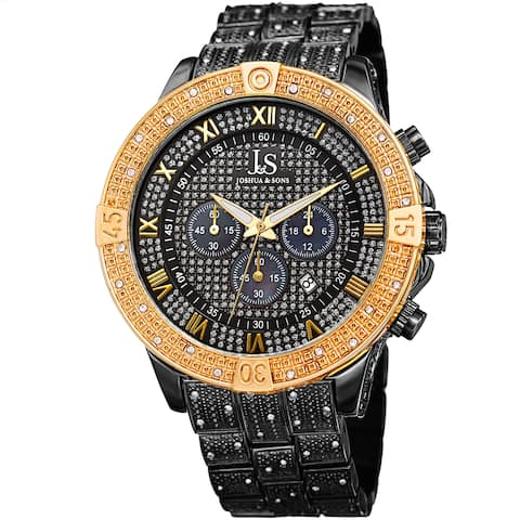Joshua & Sons Men's Chronograph Quartz Crystal Black/ Gold-Tone Bracelet Watch