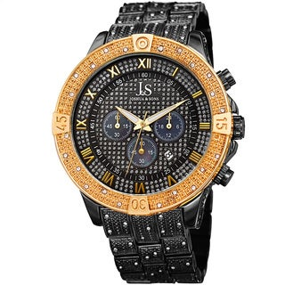Joshua & Sons Men's Chronograph Quartz Crystal Black/ Gold-Tone Bracelet Watch with FREE GIFT