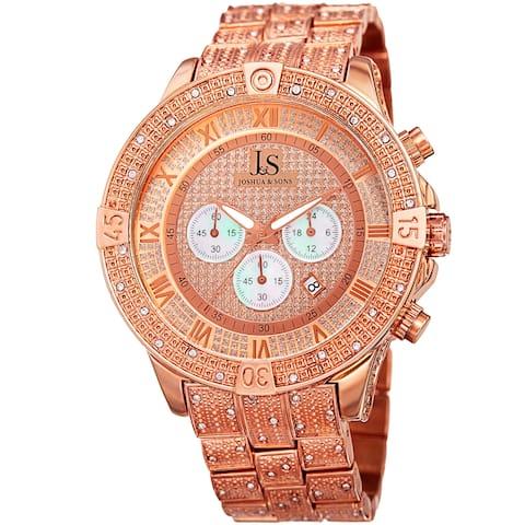 Joshua & Sons Men's Chronograph Quartz Crystal Rose-Tone Bracelet Watch