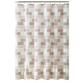 Bath Bliss Tile Design PEVA Shower Curtain with 12 Hook Set in Beige