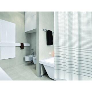 Bath Bliss Stripe Design PEVA Shower Curtain with 12 Hook Set in White