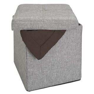 Simplify Linen Look Single Foldable Ottoman in Grey