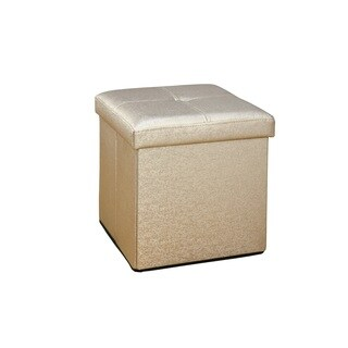 Simplify Single Foldable Gold Metallic Ottoman