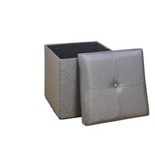 Simplify Metallic Pewter Single Foldable Ottoman