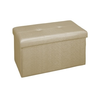 Simplify Double Foldable Ottoman in Metallic Gold