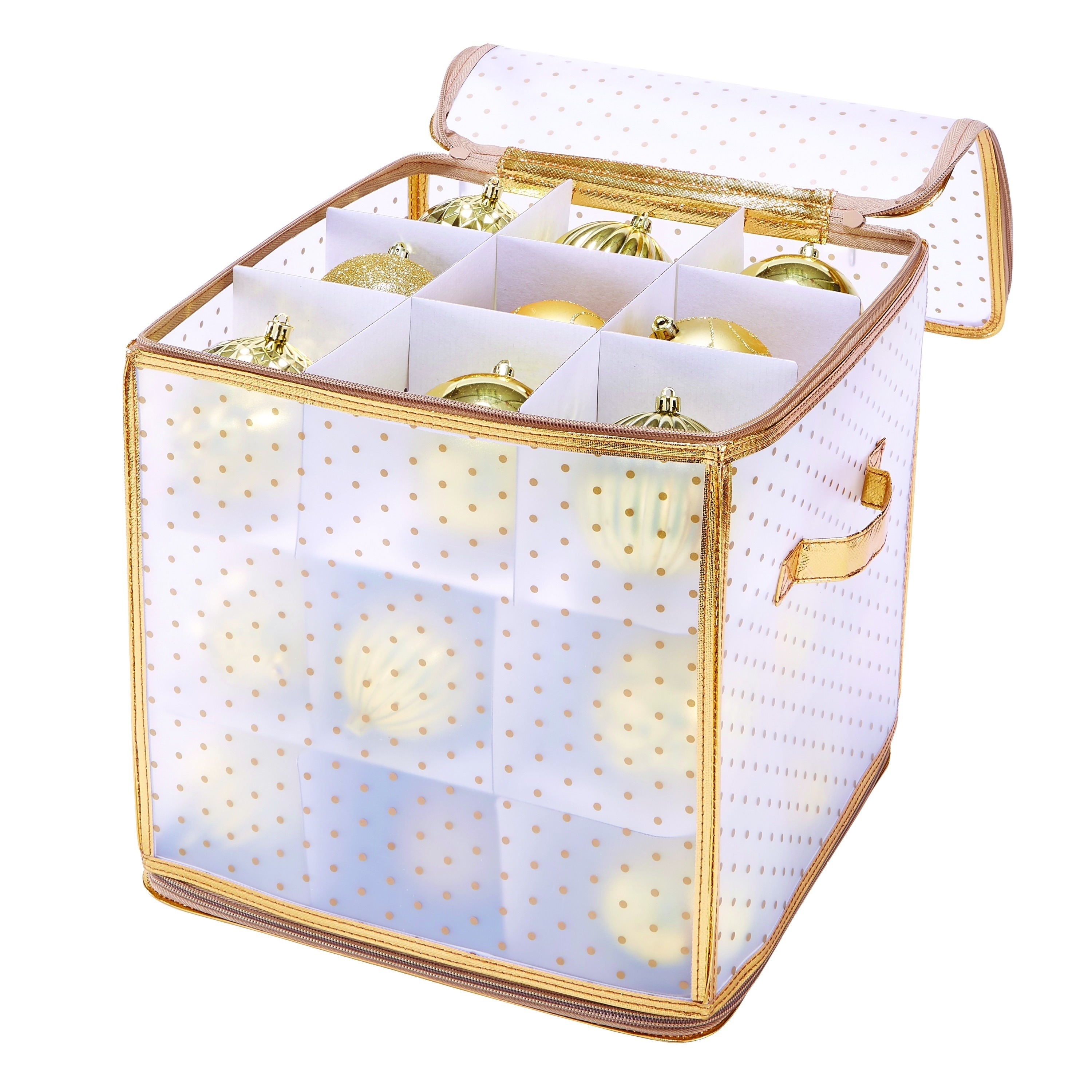 Simplify Gold-and-white Plastic 27-count Ornament Organiz...