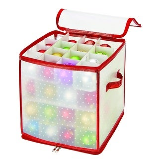 Simplify Red/Clear Plastic 64-count Ornament Organizer