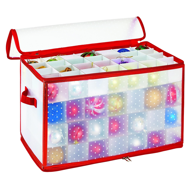 Simplify Red 112-Compartment Ornament Closet Organizer (1...