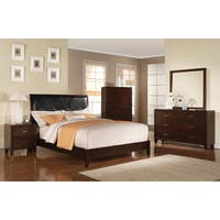Tyler Black Faux-Leather and Cappuccino Wood Bed